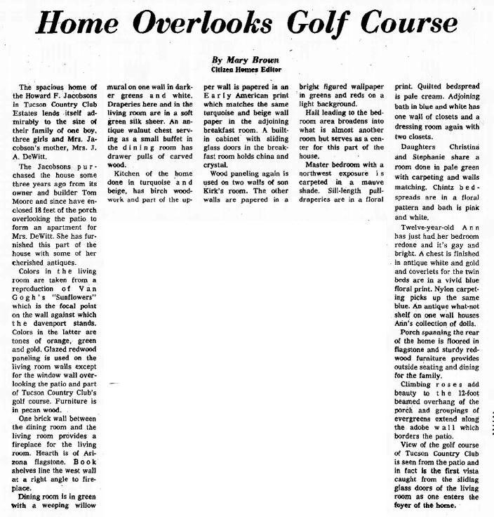 Tucson Citizen article July 11, 1964