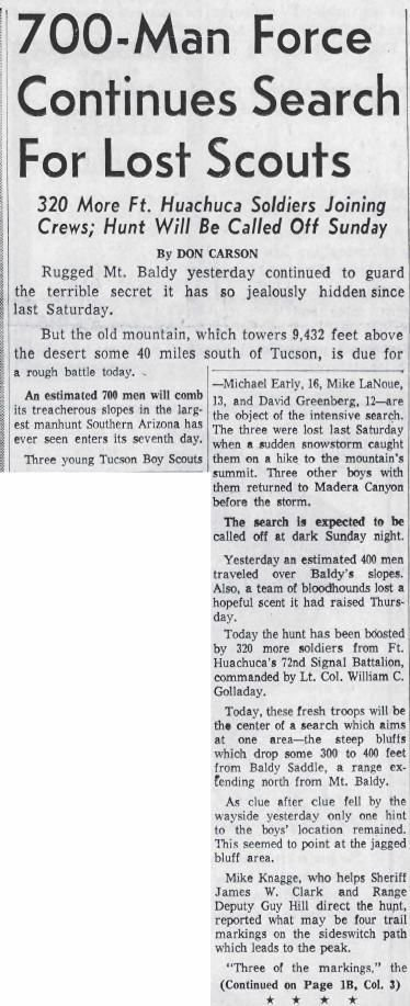 700-man force continues search for lost scouts (Nov. 22, 1958)