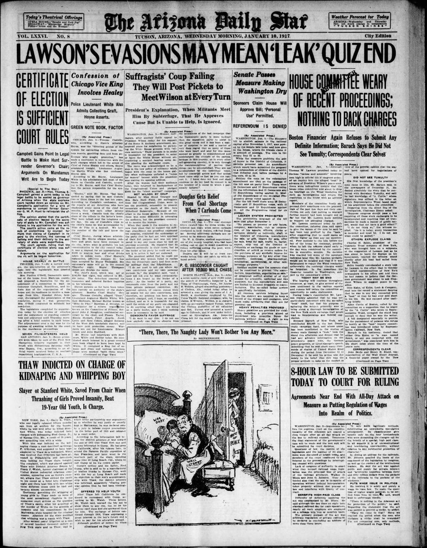 Arizona Daily Star front page Jan. 10, 1917