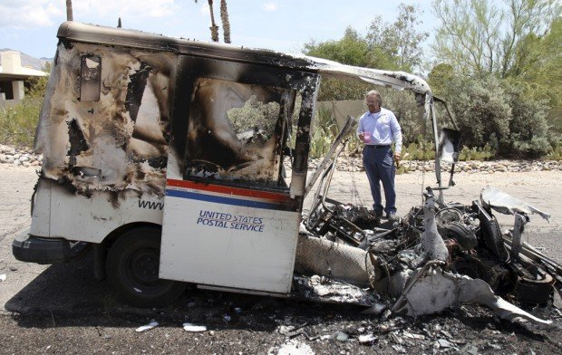 Hundreds of pieces of mail burn when postal truck catches fire