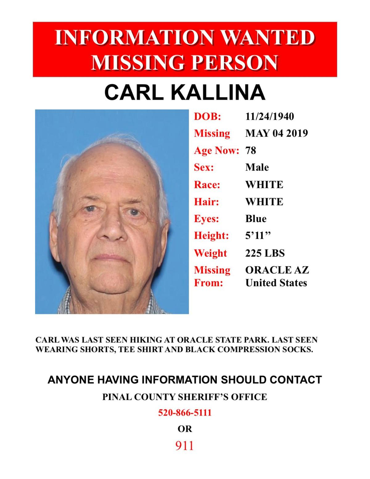 Missing Oracle State Park Hiker