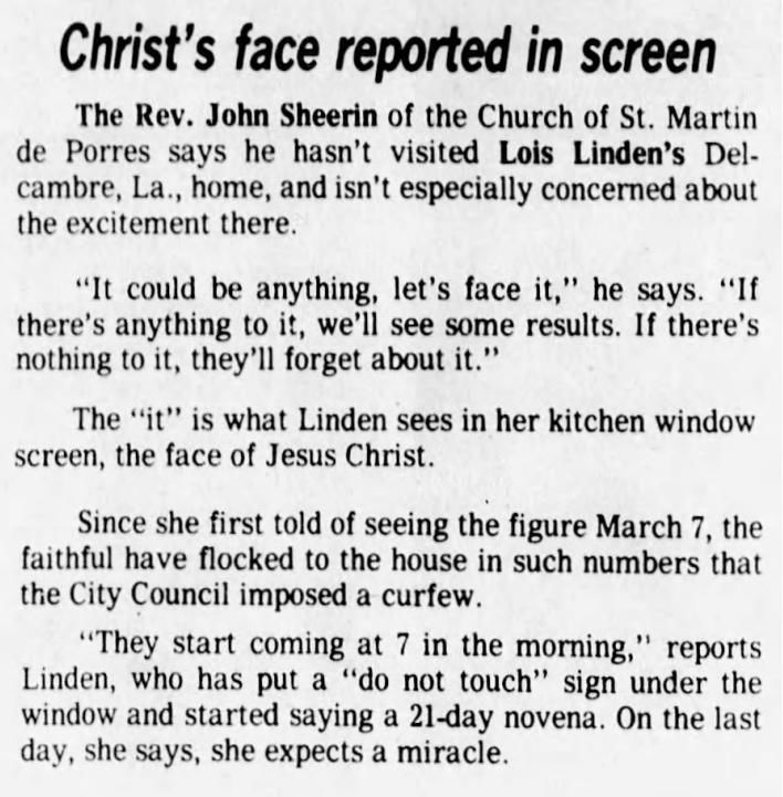 March 26, 1980: Christ's face reported in screen