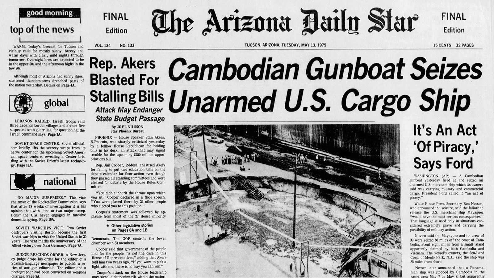 Arizona Daily Star front page May 13, 1975 | | tucson com