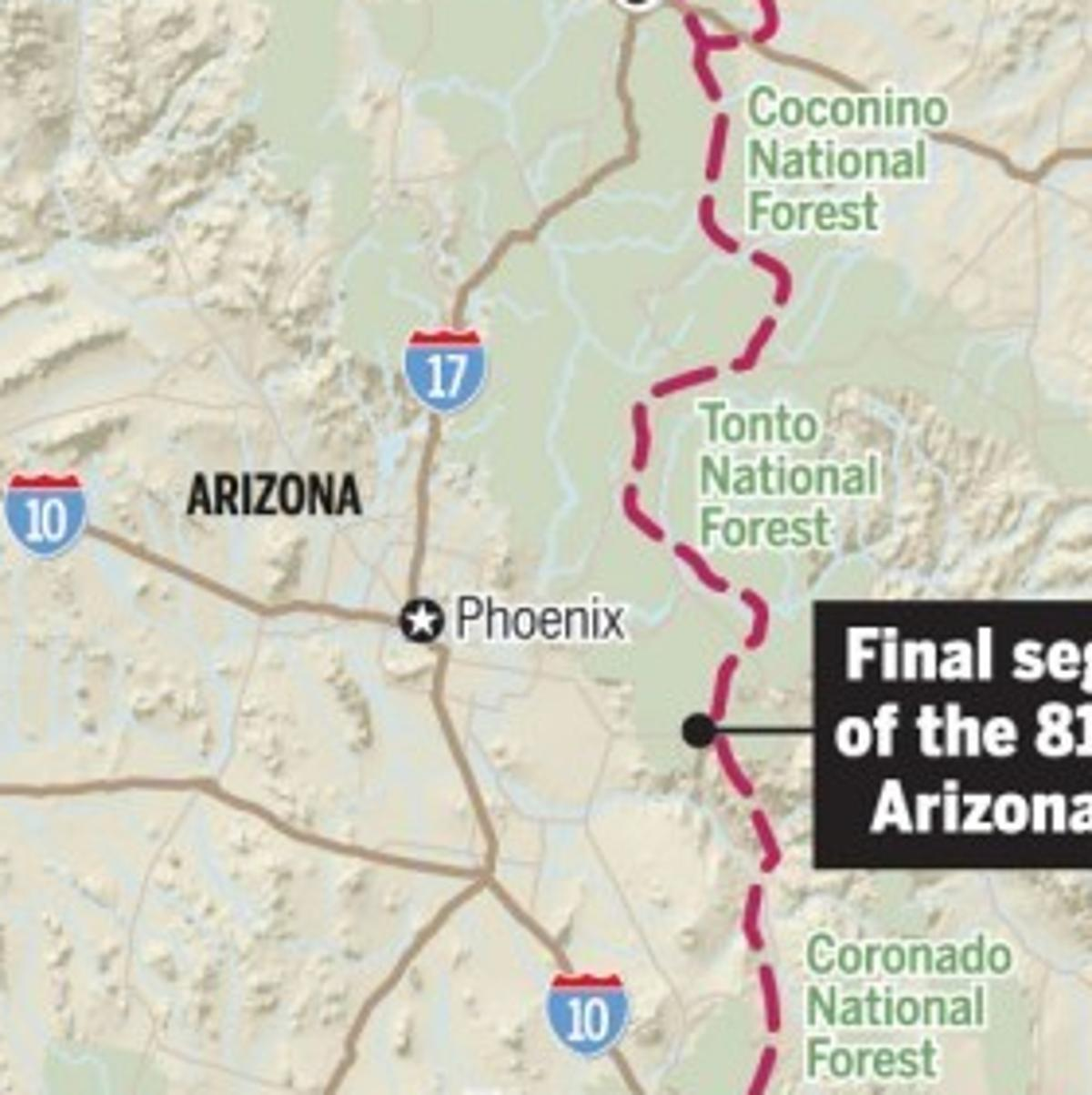 Map Of Just Arizona.Just A Few Miles Left To Complete Arizona Trail Recreation