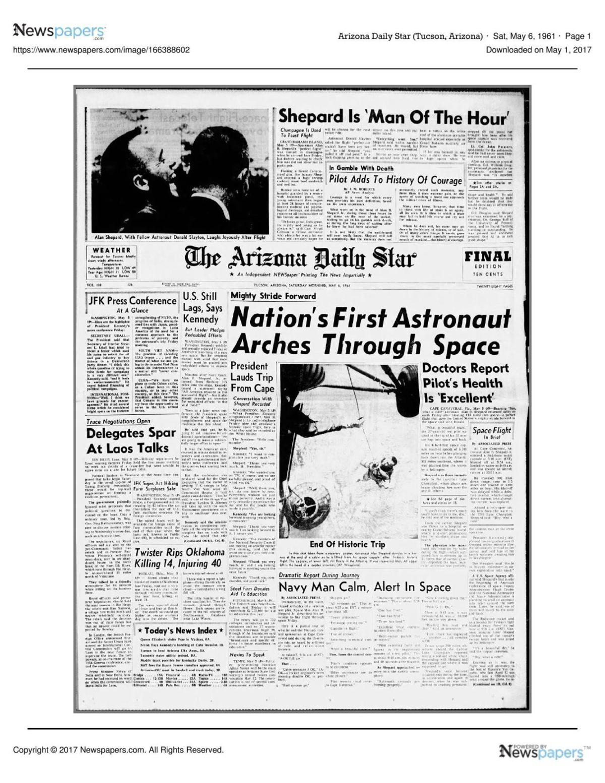 Arizona Daily Star front page May 6, 1961 pdf | | tucson com