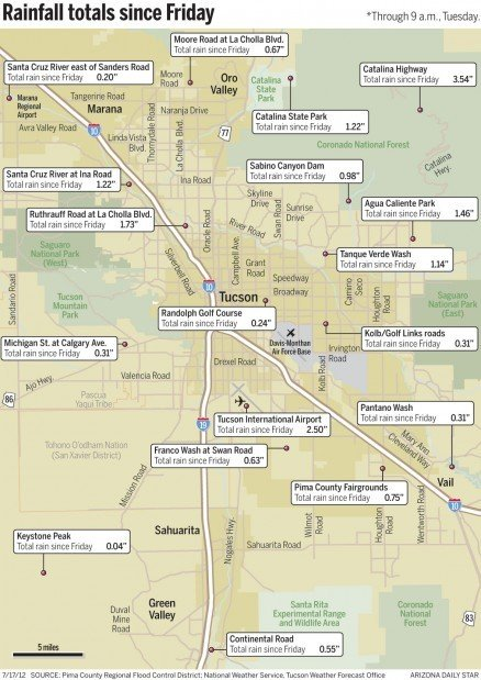 Map: Tucson's rain totals since Friday