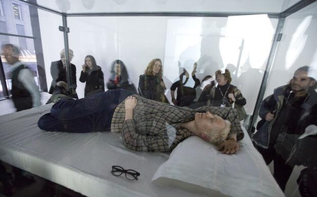 Photo of the day: Actress Tilda Swinton sleeps for art