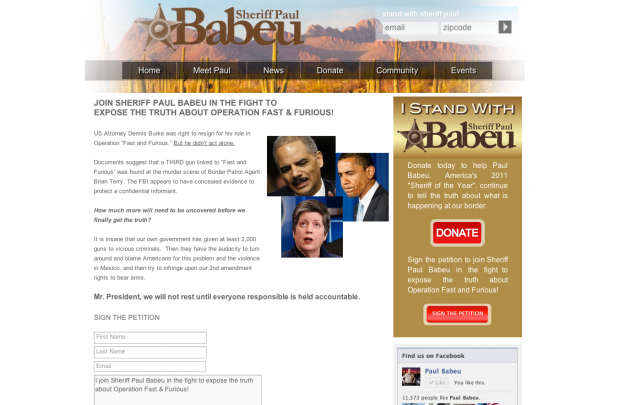 Babeu Fast and Furious fundraising