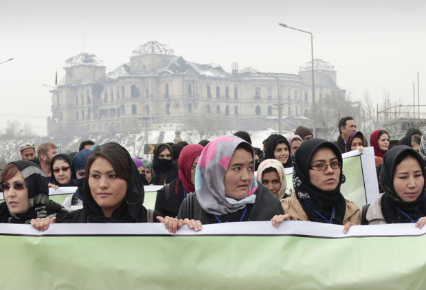Women march to protest violence in Afghanistan