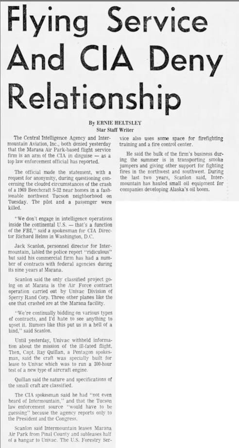 Flying service and CIA deny relationship