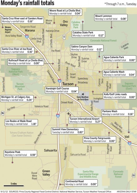 Map: Monday's rain totals around Tucson