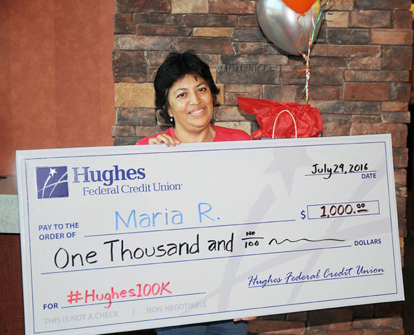 Hughes Federal Credit Union's 100,000th member
