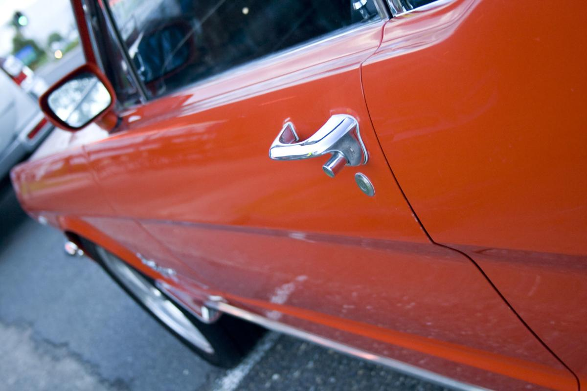Side Door and Handle of Ford Classic Mustang Sports Car