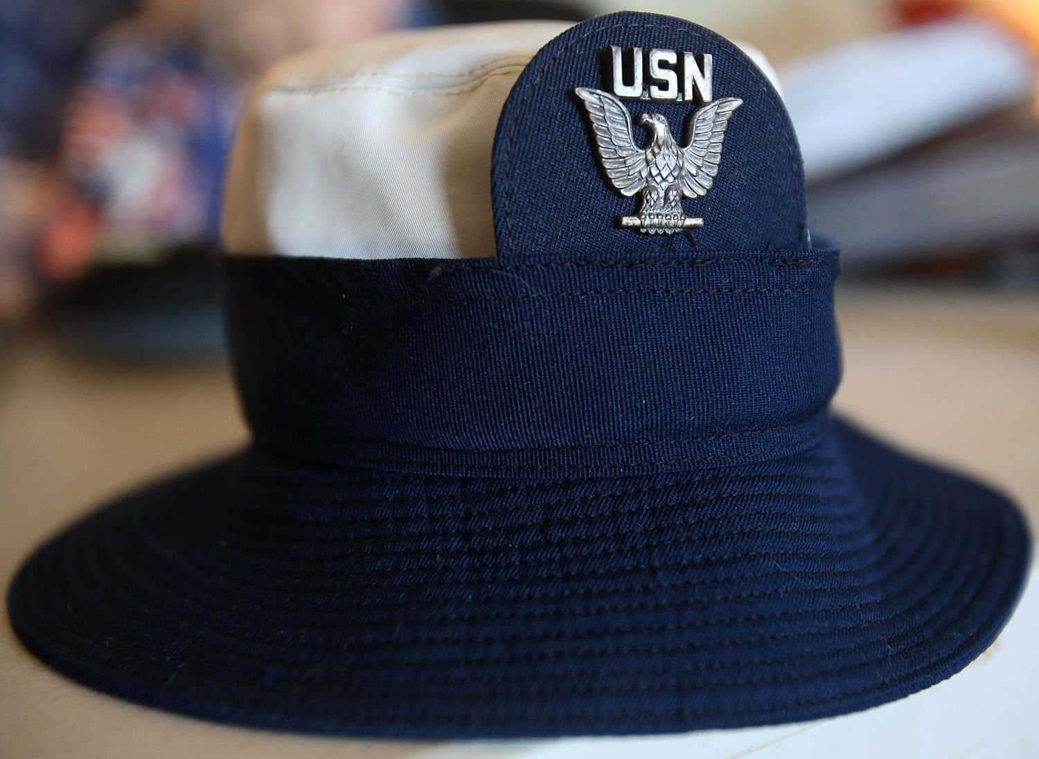 34aafa7cb75 Helen Anderson Glass  hat that she wore when she served in United States  Navy. Glass enlisted on her 20th birthday on March 8