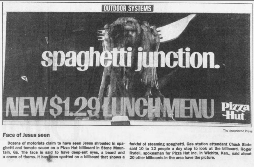 May 22, 1991: Jesus in spaghetti ad