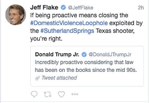 Arizona's Sen. Jeff Flake in Twitter-duel with Donald Trump Jr. over guns