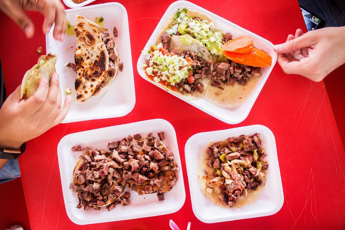 Carne asada tacos at Tacos Apson
