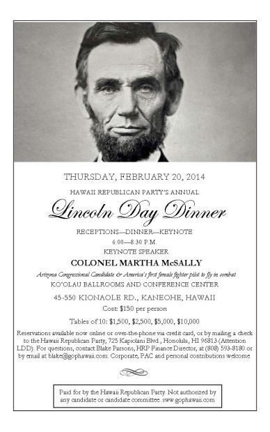 invite to Hawaii GOP Lincoln Day dinner