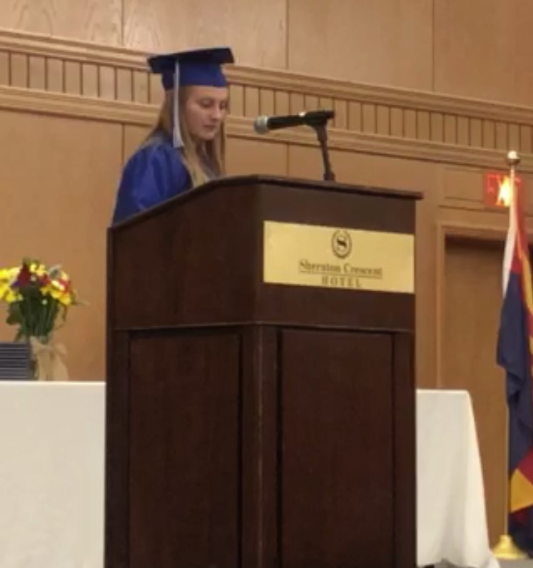 O'Connell speaks at her high school graduation