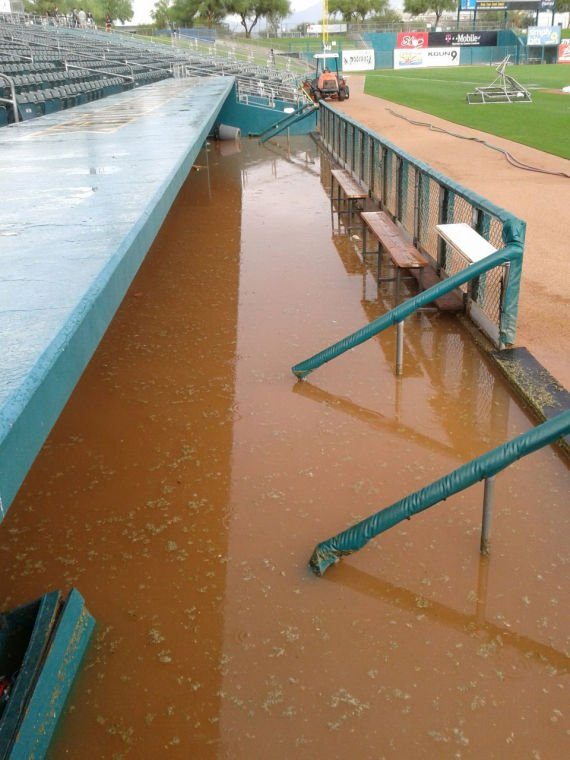 Padres' Flooded Dugouts