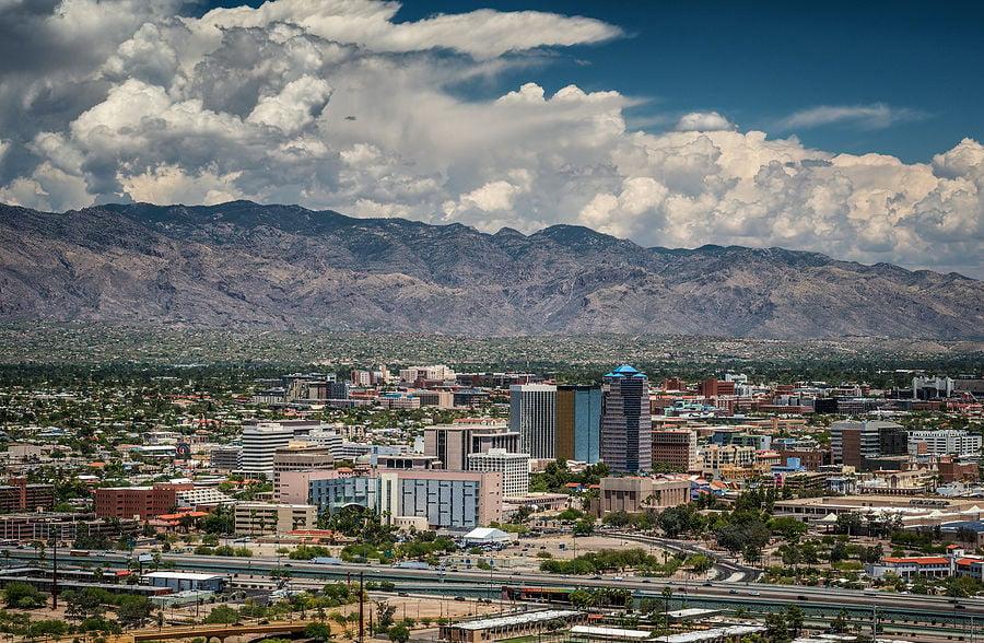 Tucson Skyline And Santa Catalina Mountain Range From Sentinel Peak Park, Tucson, Arizona, Usa