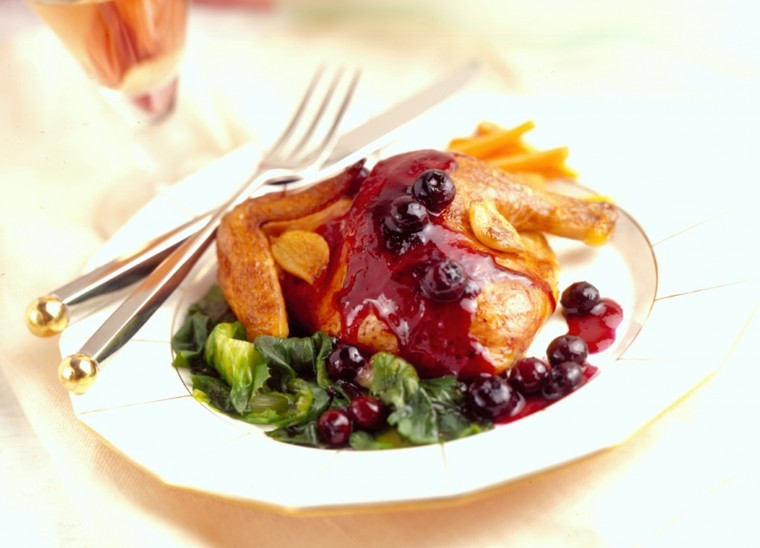 Roast Cornish Game Hens with Sautéed Blueberries