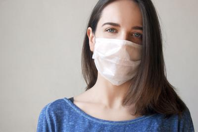 The Image Face Of A Young Woman Wearing A Medicine Mask To Prevent Germs, Toxic Fumes, And Dust. Pre