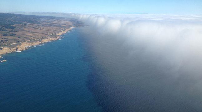 Marine layer clouds.