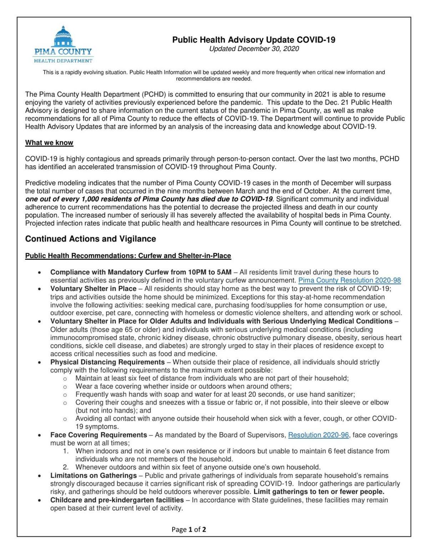 Public Health Advisory Update COVID-19 Updated December 30, 2020