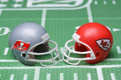 IRVINE, CALIFORNIA - 25 JAN 2021: Helmets for the Tampa Bay Buccaneers, and Kansas City Chiefs, oppo