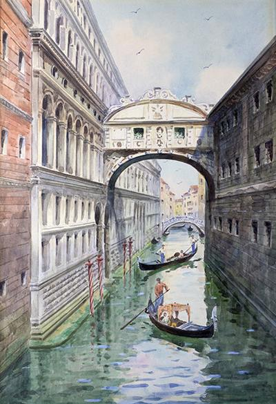 """Venice Bridge of Sighs"" painting"