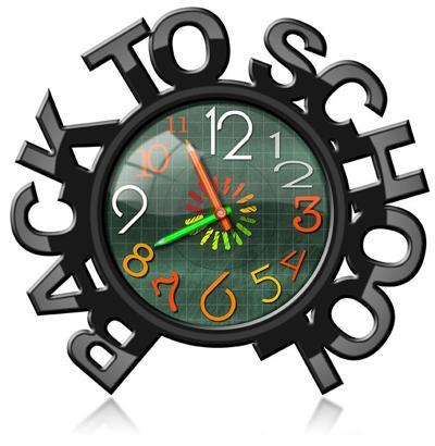Back To School - Clock And Blackboard