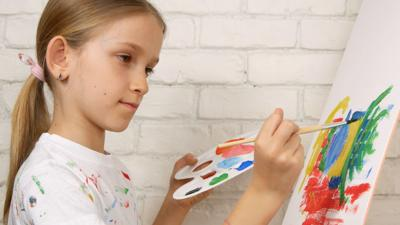 Child Painting On Easel, School Kid In Workshop Class, Young Girl Working Art Craft In Classroom