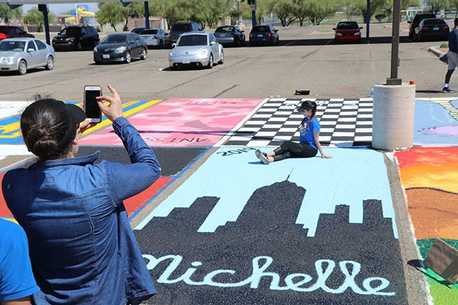 Marana High School Seniors painted their parking spots at school