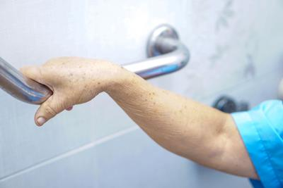 Asian Senior Or Elderly Old Lady Woman Patient Use Toilet Handle Security In Nursing Hospital : Heal