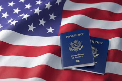 USA passport on the flag of the US United Stetes. Getting a USA passport, naturalization and immigr