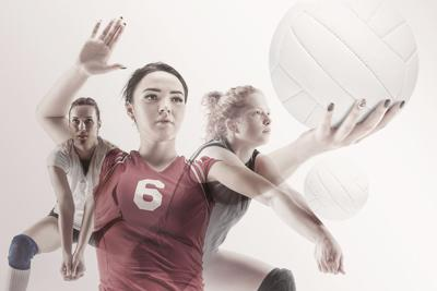 Young Female Volleyball Player Isolated On White Studio Background. Woman In Sports Equipment And Sh