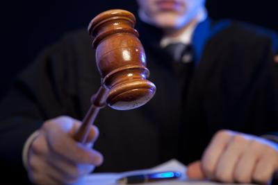 Striking the gavel, court
