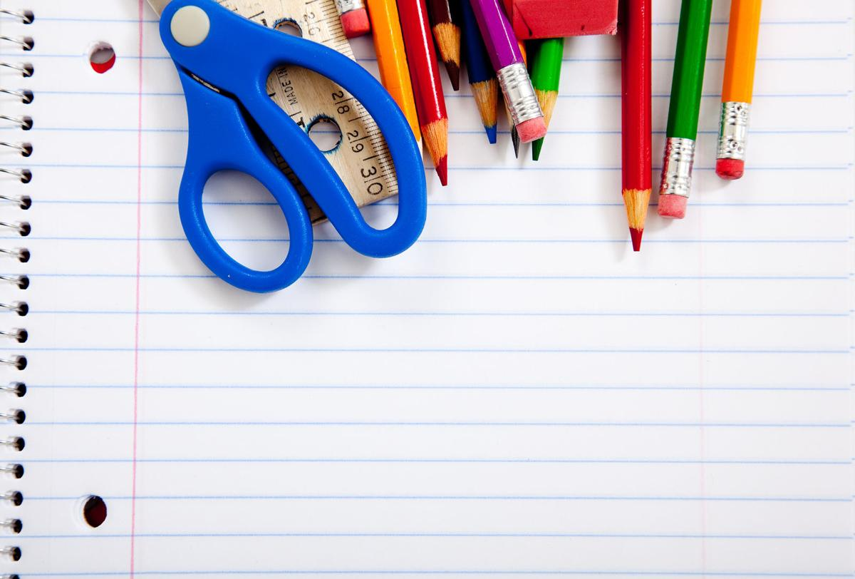 Assorted School Supplies With Notebooks