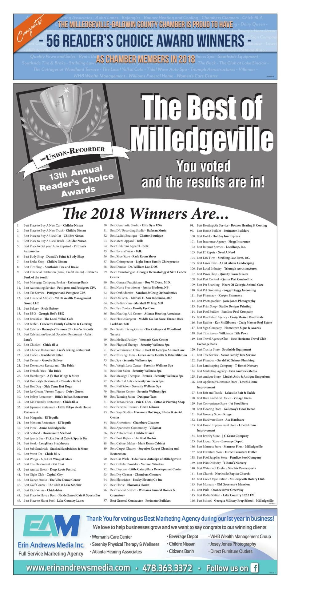 UR Reader\'s Choice Winners 2018 | Special Sections | unionrecorder.com
