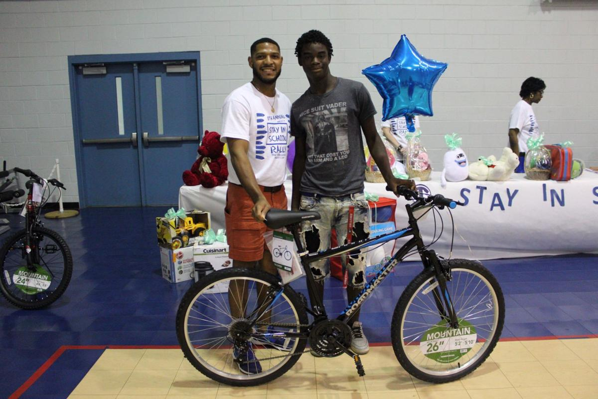 Mountain bikes were raffled off at the Stay in School Rally to students that attended the event.