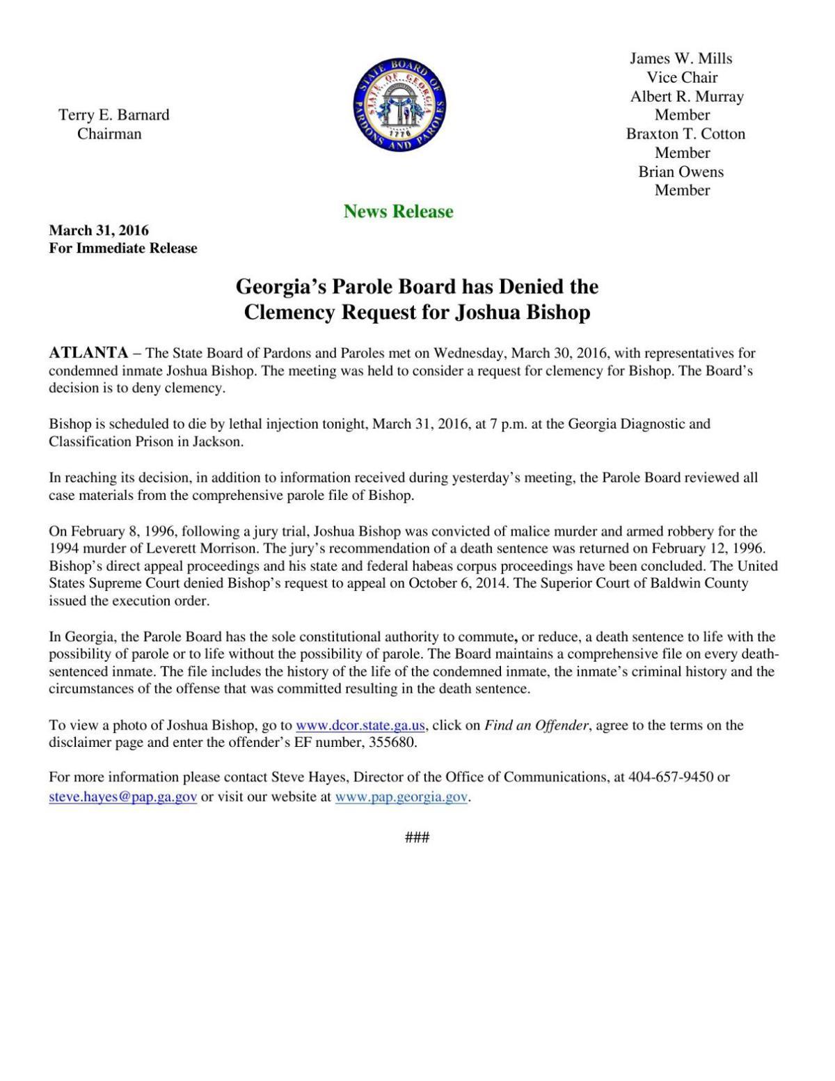 Bishop clemency announcement | Local News | unionrecorder com