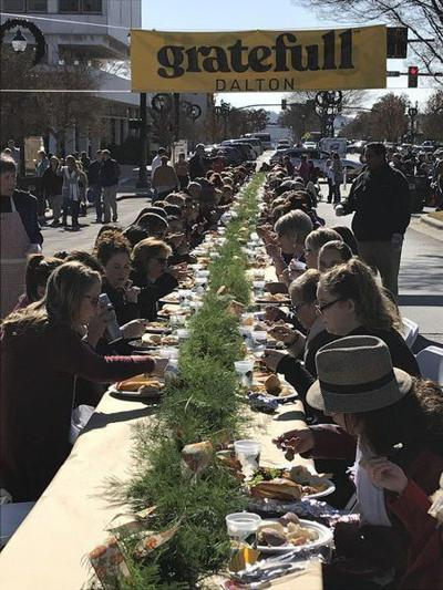 Turkey and tamales: 1,400 people have lunch together in downtown Dalton