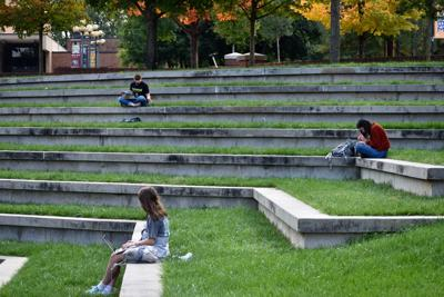 Students studying outside HSS