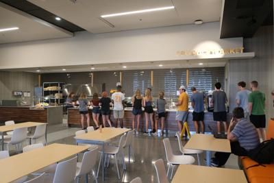 Students in line at West Dining