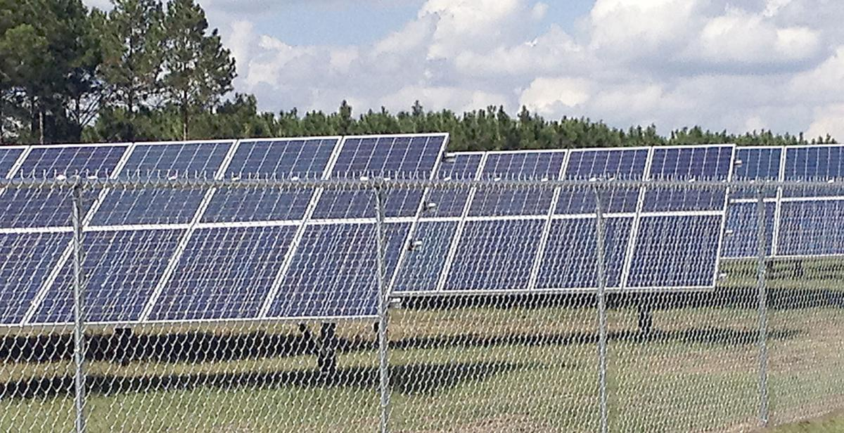 A closer view of the solar panel array at Mud Creek Wastewater Teratment Plant