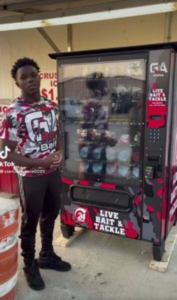 Teen launches live bait vending machine
