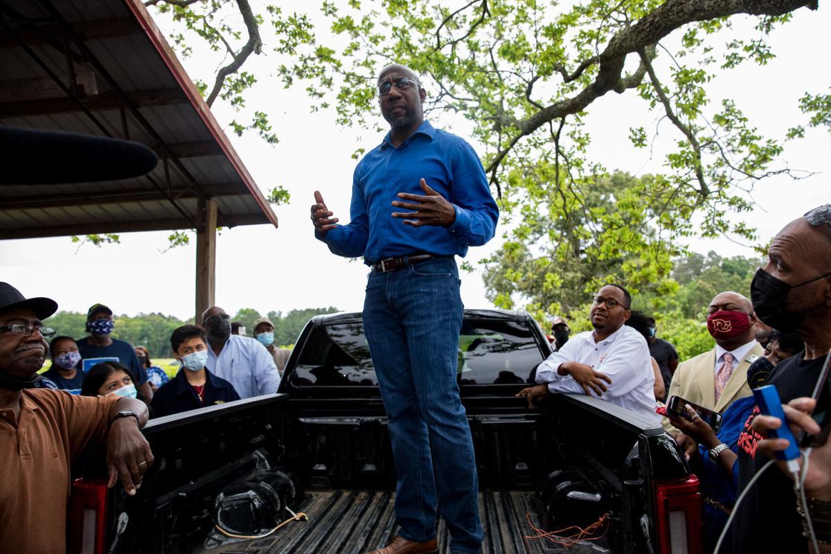 Warnock visits Black farmers in Byromville