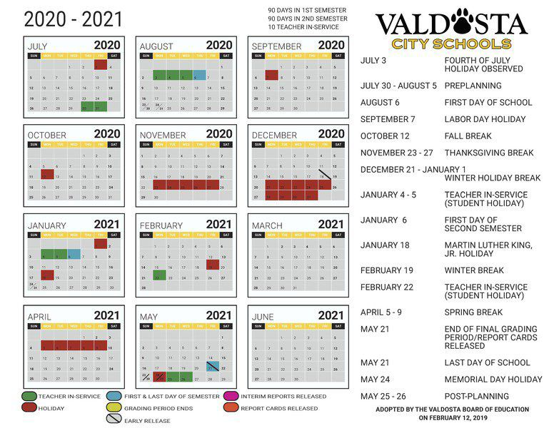 Troup County School Calendar 2020-2021 City school year calendars approved | Local News