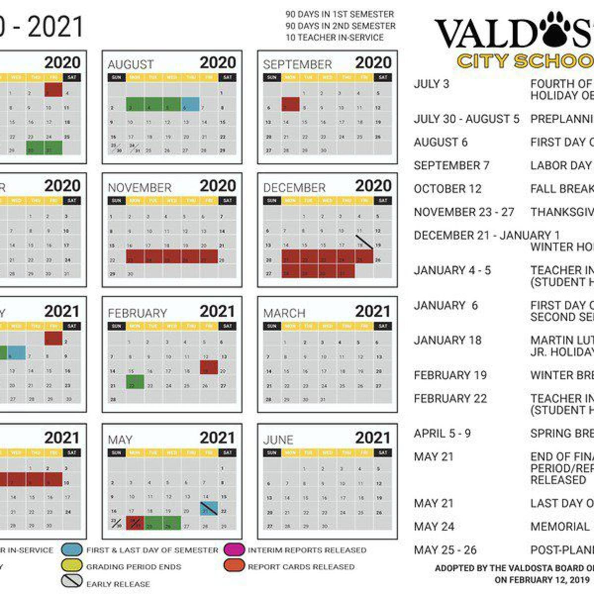 Troup County School Calendar 2020-21 City school year calendars approved | Local News